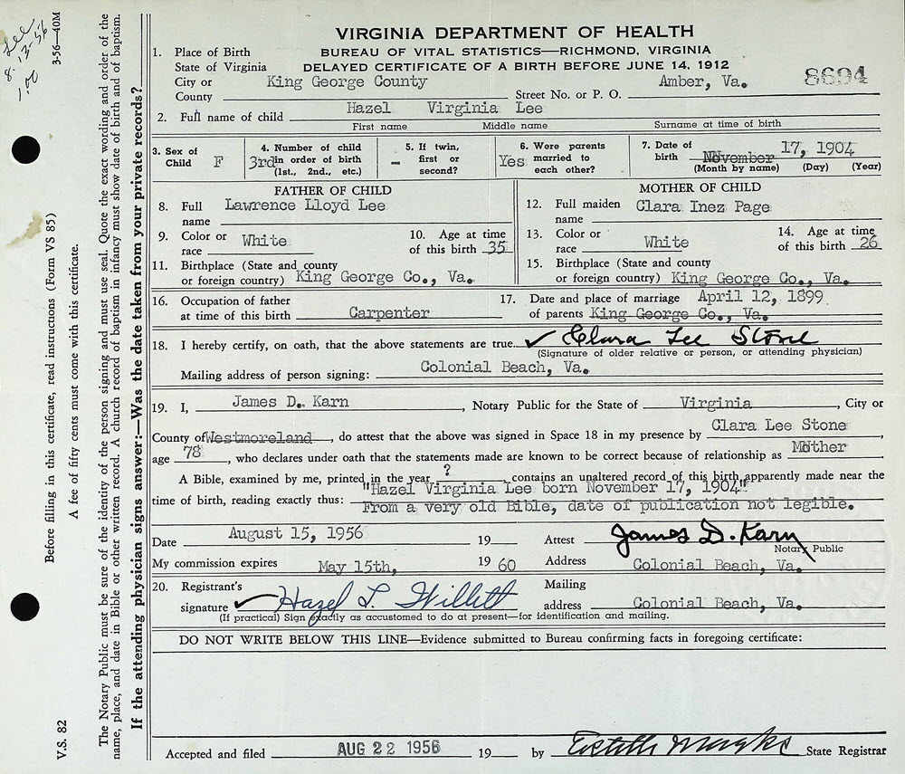 hazel birth certificate virginia dishman va lee exhibits vital records 1956