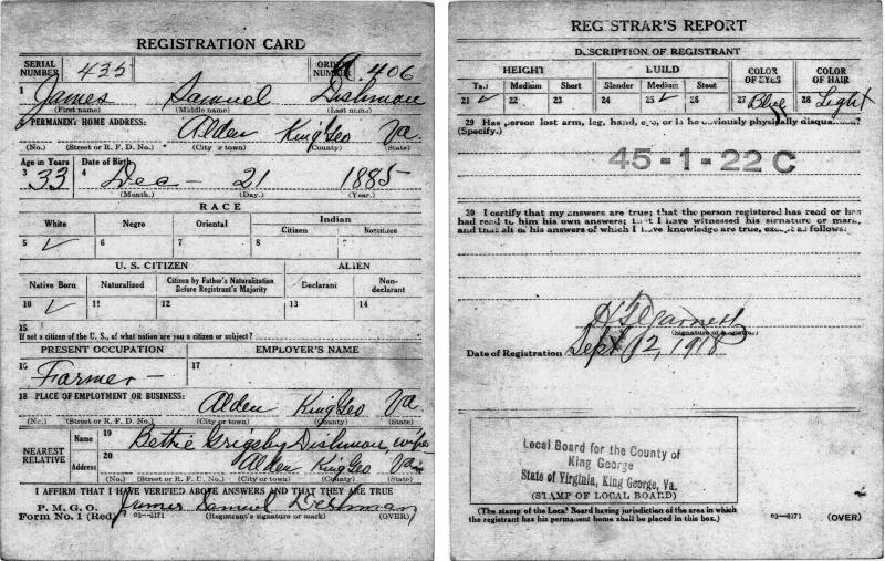 WWI Draft Card of James Samuel Dishman